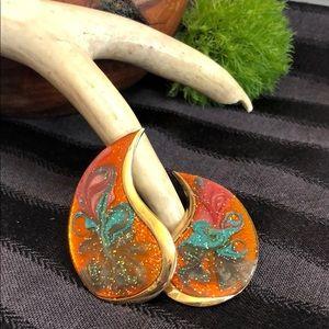 Vintage Enamel Swirl Fun Earrings